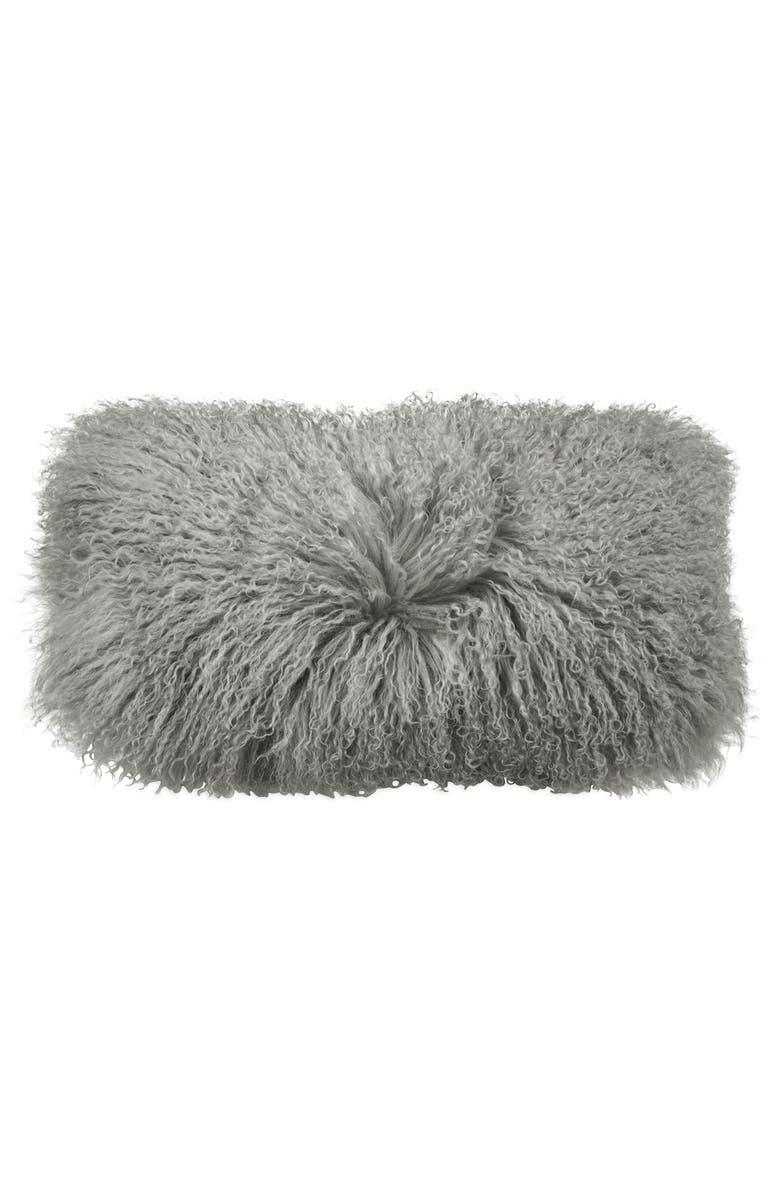 DONNA KARAN NEW YORK Donna Karan Collection Flokati Genuine Sheepskin Pillow, Main, color, GREY