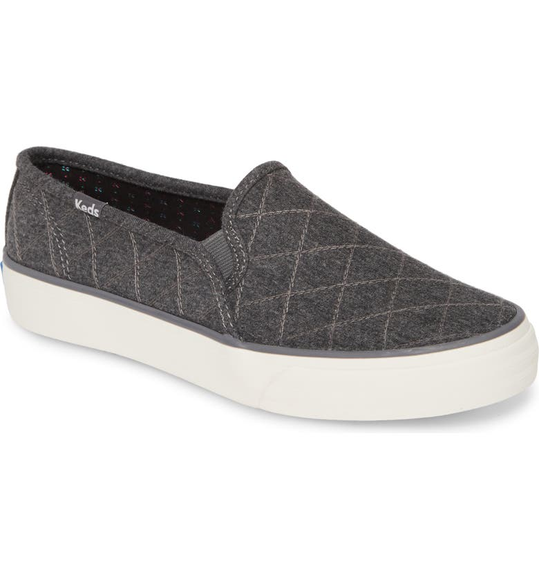 KEDS<SUP>®</SUP> Double Decker Quilt Slip-On Sneaker, Main, color, CHARCOAL QUILTED JERSEY