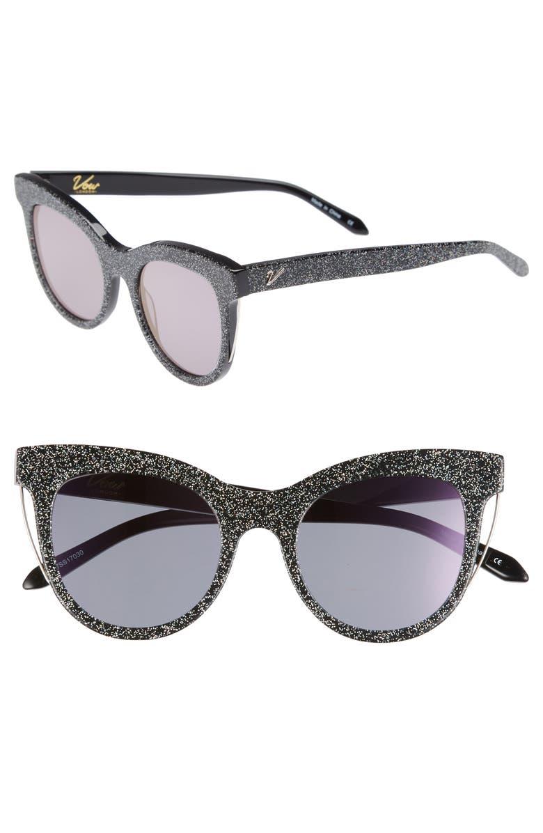 VOW LONDON Sloane 52mm Cat Eye Sunglasses, Main, color, MULTI GLITTER/ PURPLE FLASH