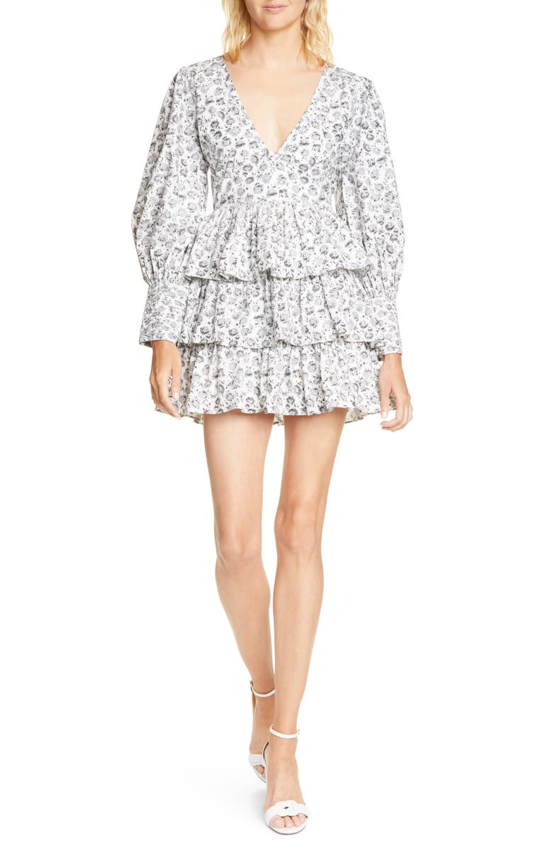 LOVESHACKFANCY Paris Long Sleeve Tiered Ruffle Minidress, Main, color, WARM GREY