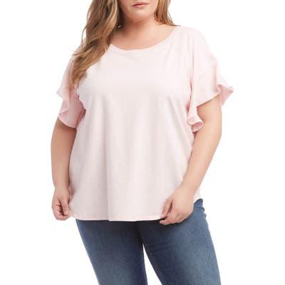 Plus Size Karen Kane Ruffle Sleeve Top, Pink