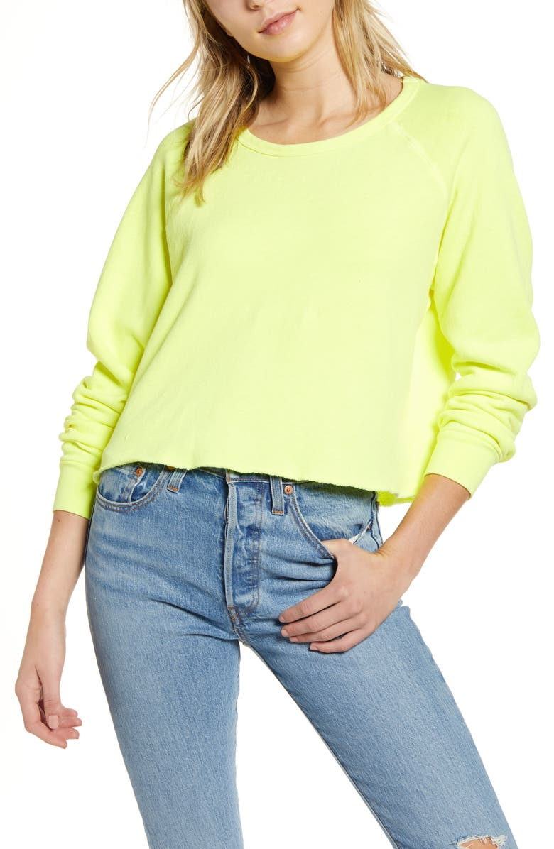 PST BY PROJECT SOCIAL T Raw Edge Sweatshirt, Main, color, NEON YELLOW