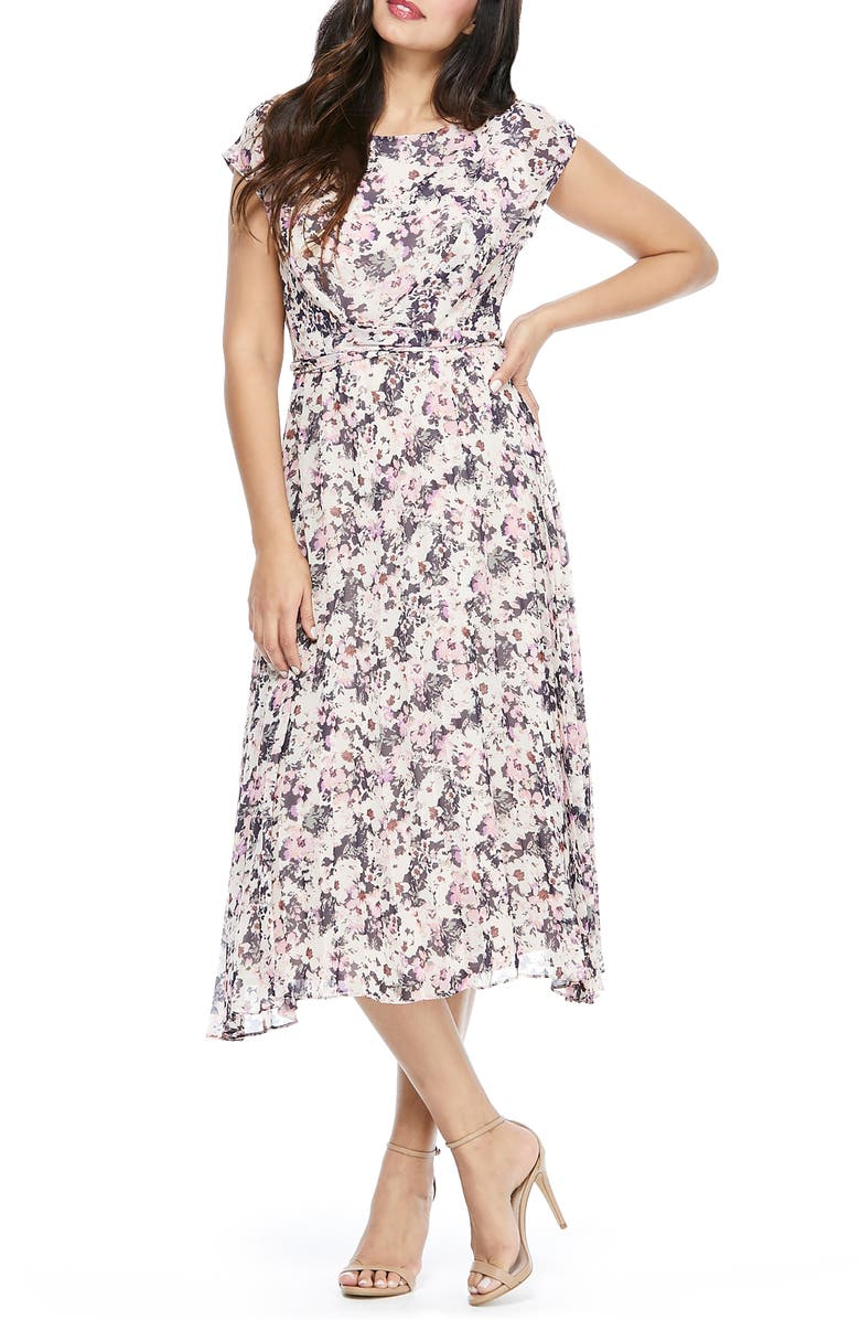 MAGGY LONDON Floral Pleated Midi Dress, Main, color, LINEN/ CORAL