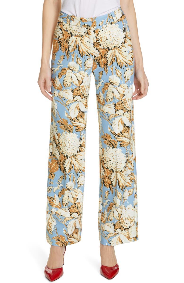 STINE GOYA Marcel Floral Print Pants, Main, color, BLUE HORTENSIA