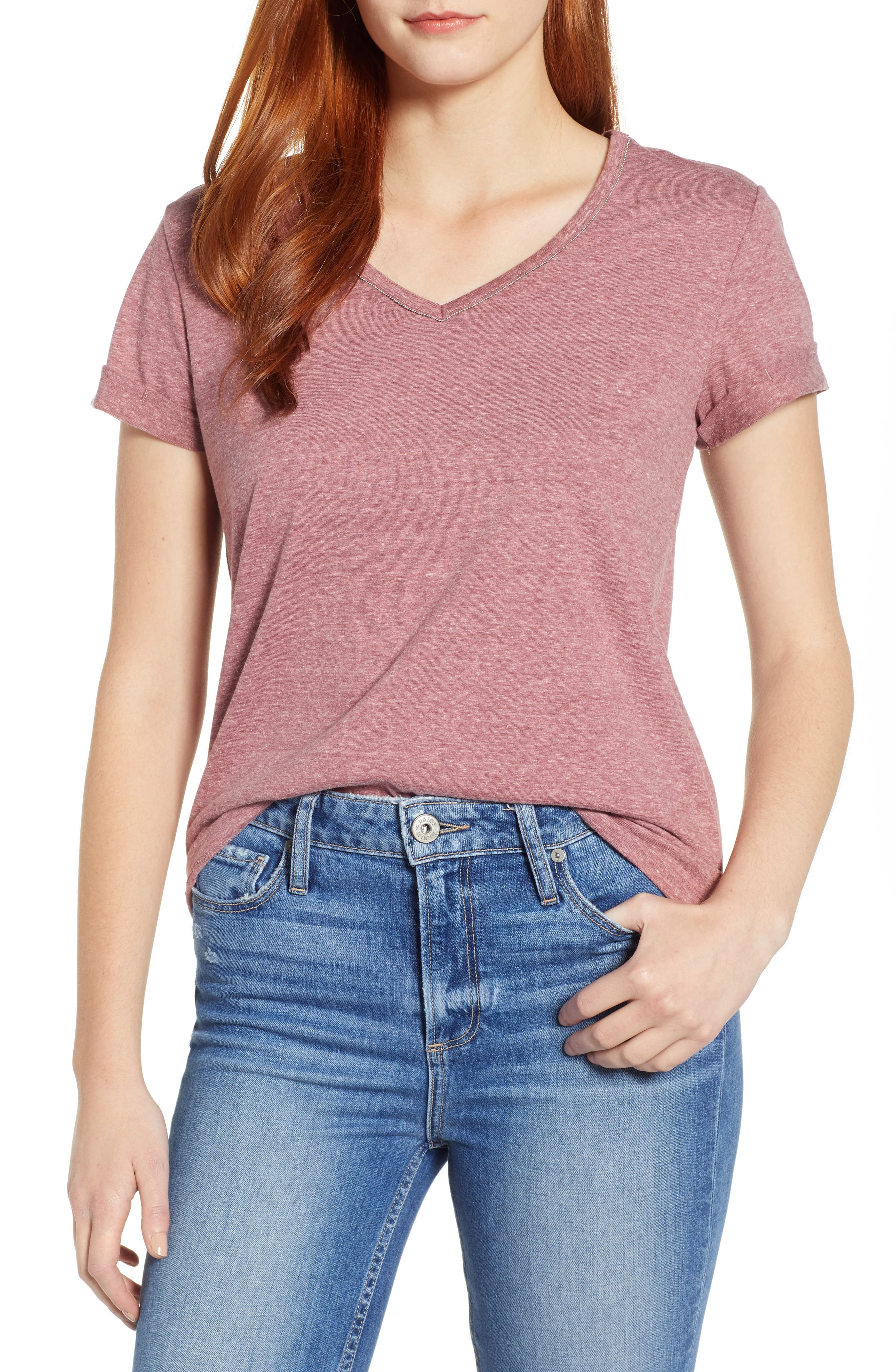 A heathered tee is stepped up from the everyday variety with a fine chain tracing the V-neckline. Style Name: Wit & Wisdom Chain Trim V-Neck Tee (Nordstrom Exclusive). Style Number: 5707403. Available in stores.