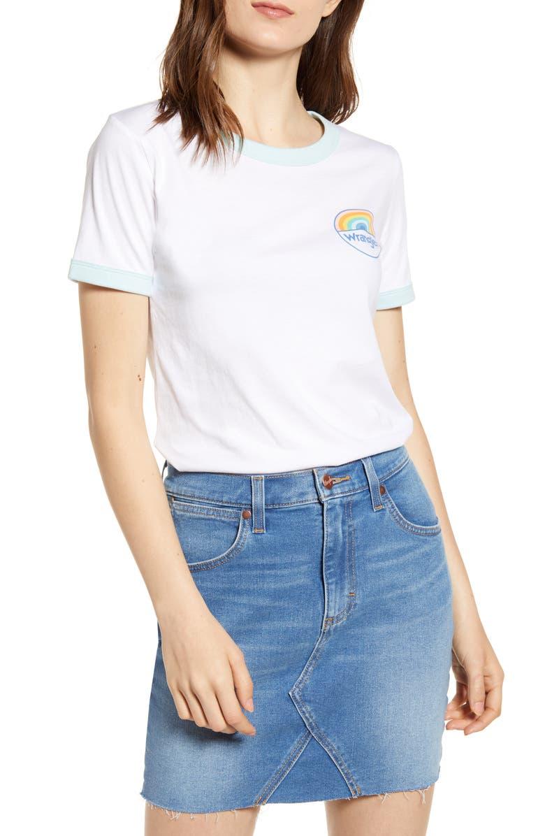 WRANGLER Rainbow Logo Ringer Tee, Main, color, WHITE
