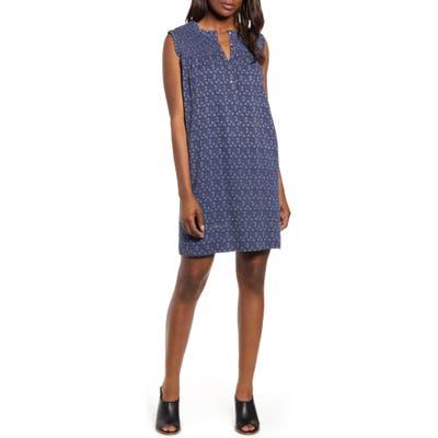 Petite Caslon Smocked Shift Dress, Blue