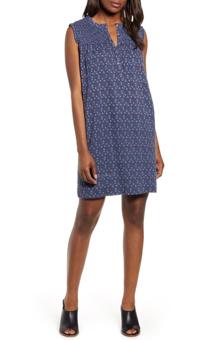CASLON<SUP>®</SUP> Smocked Shift Dress, Main, color, BLUE TWILIGHT PETAL DOT PRINT
