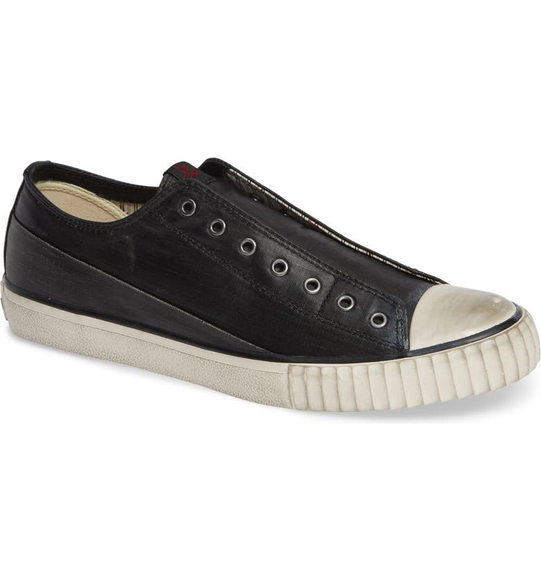 BOOTLEG BY JOHN VARVATOS Linen Laceless Sneaker, Main, color, BLACK COATED LINEN