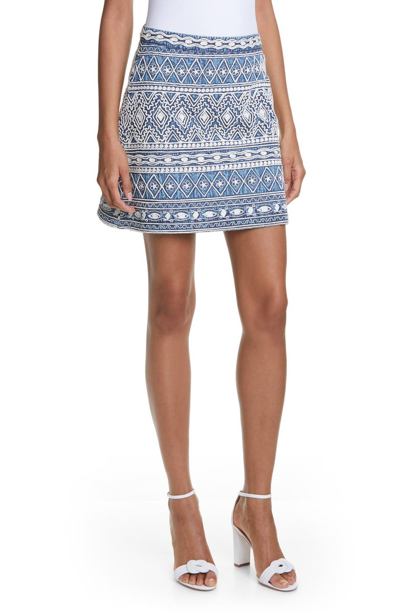 ALICE + OLIVIA Riley Embroidery Detail Cotton Miniskirt, Main, color, CHAMBRAY/ CREAM