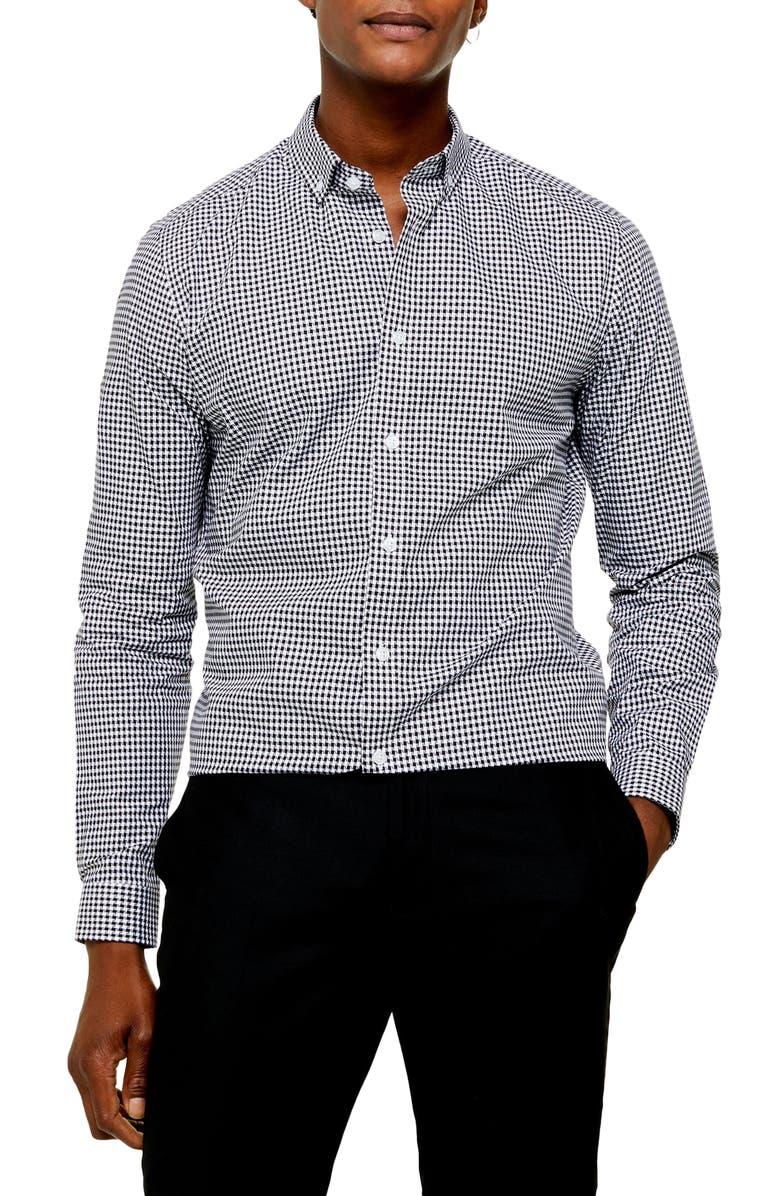 TOPMAN Slim Fit Gingham Check Button-Down Shirt, Main, color, BLACK/ WHITE