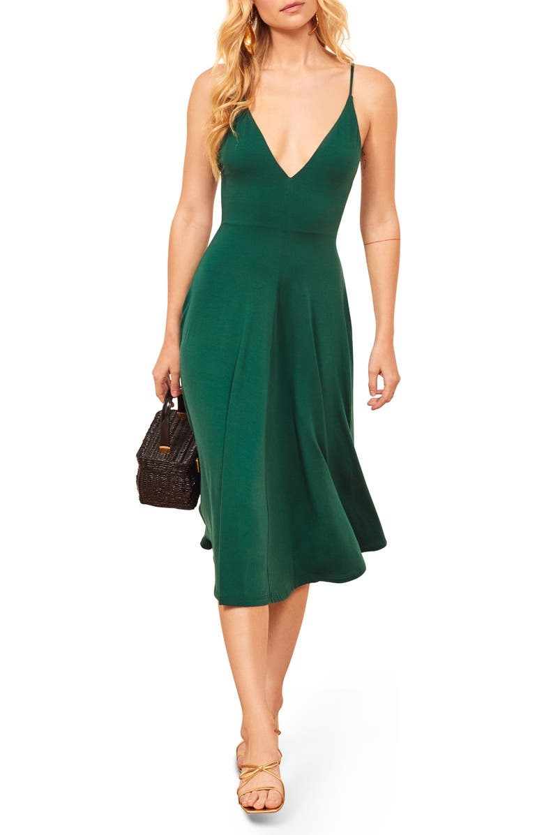 REFORMATION Strada Sleeveless Dress, Main, color, EMERALD