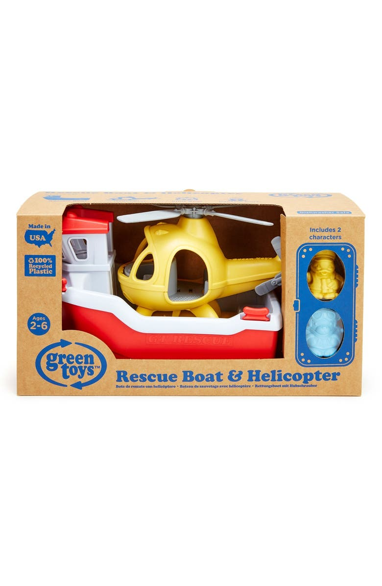 GREEN TOYS Rescue Boat & Helicopter Toy Set, Main, color, 600