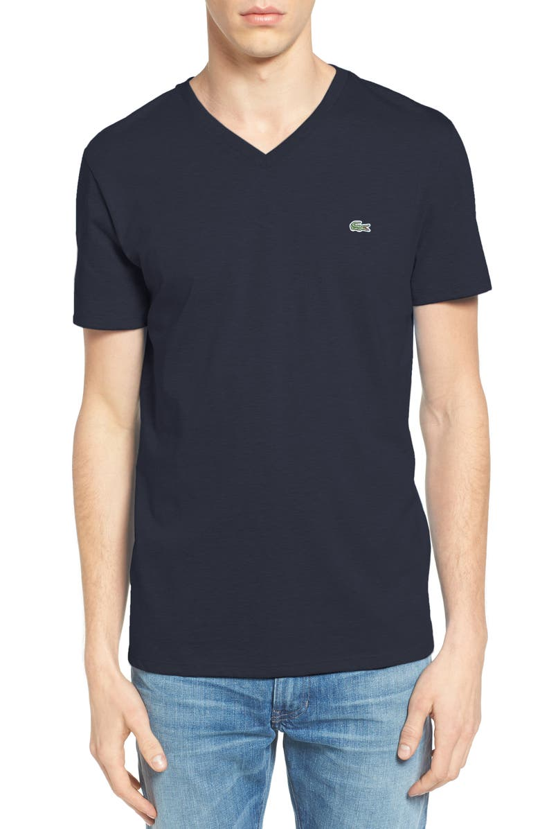 LACOSTE Regular Fit V-Neck T-Shirt, Main, color, NAVY BLUE