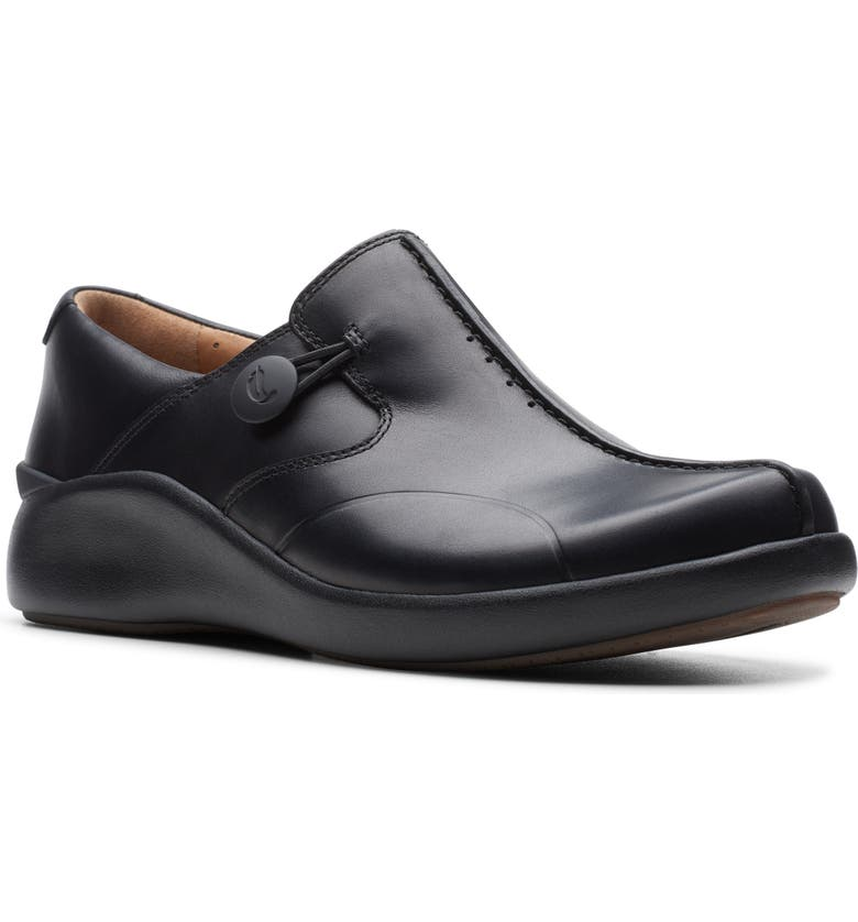 CLARKS<SUP>®</SUP> Un Loop 2 Walk Flat, Main, color, BLACK LEATHER