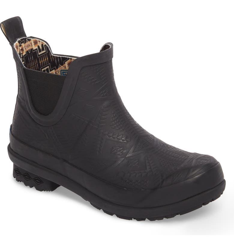 PENDLETON Embossed Chelsea Rain Boot, Main, color, BLACK