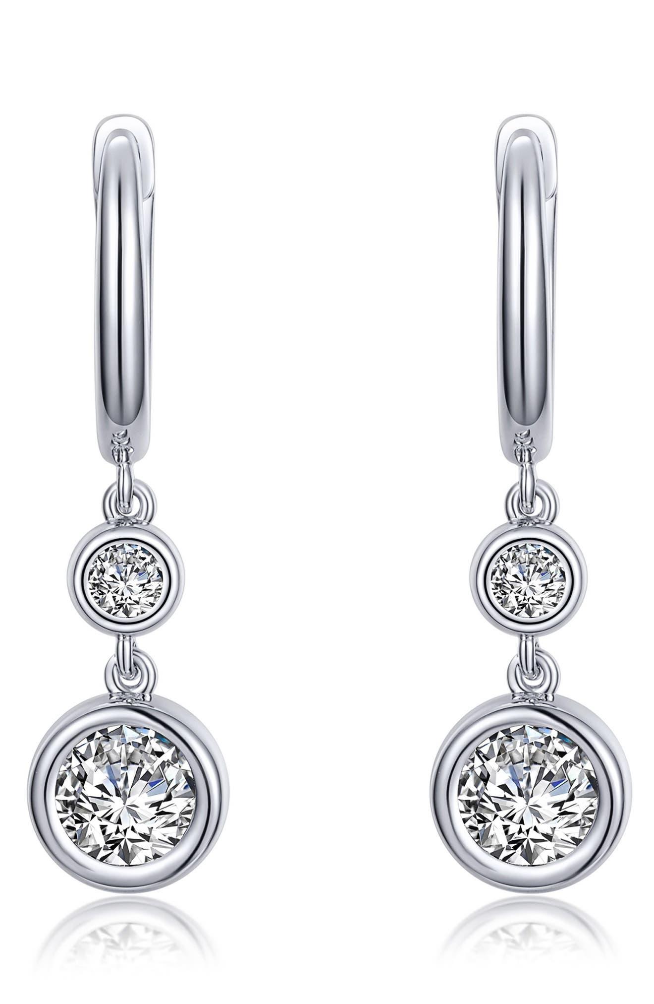 Classic Simulated Diamond Drop Huggie Hoop Earrings