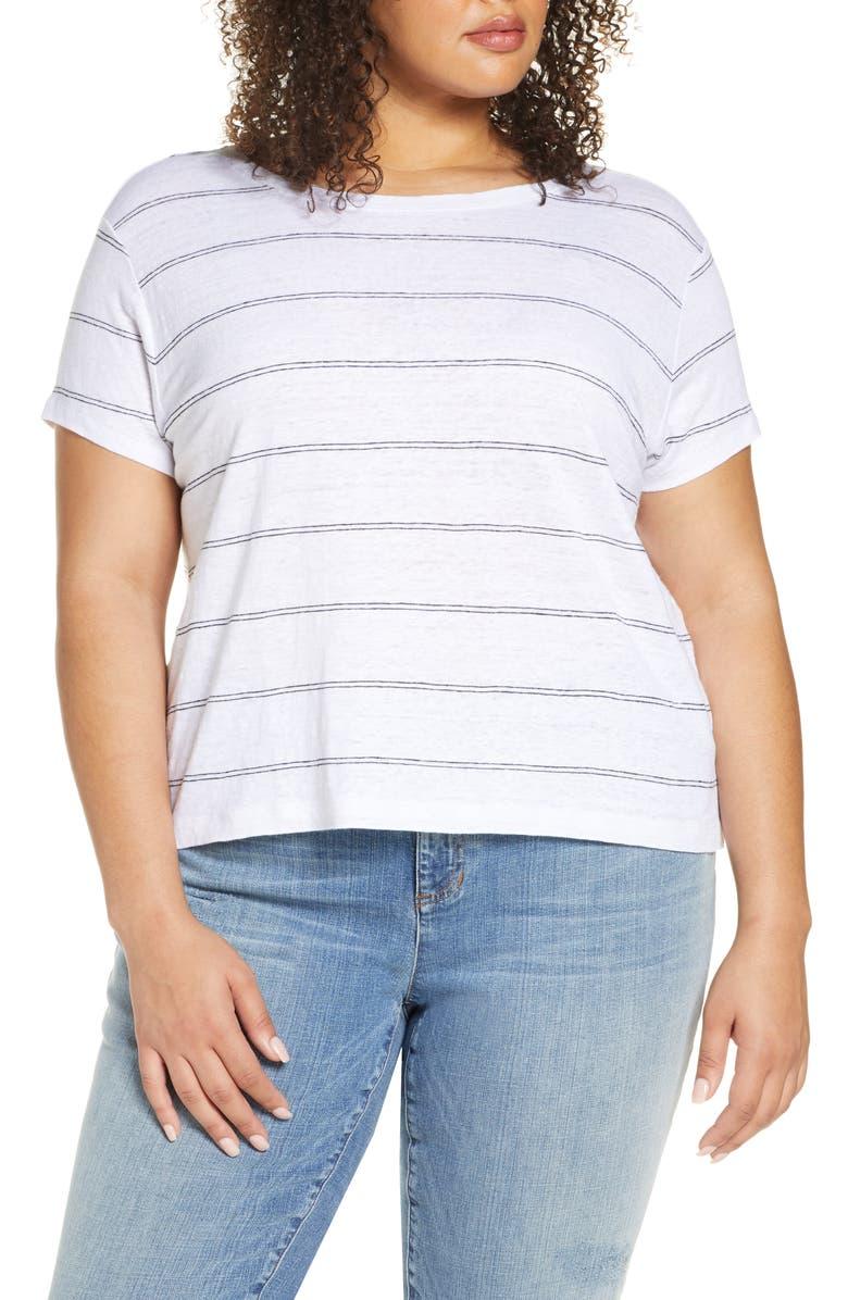 EILEEN FISHER Stripe Organic Linen T-Shirt, Main, color, 100