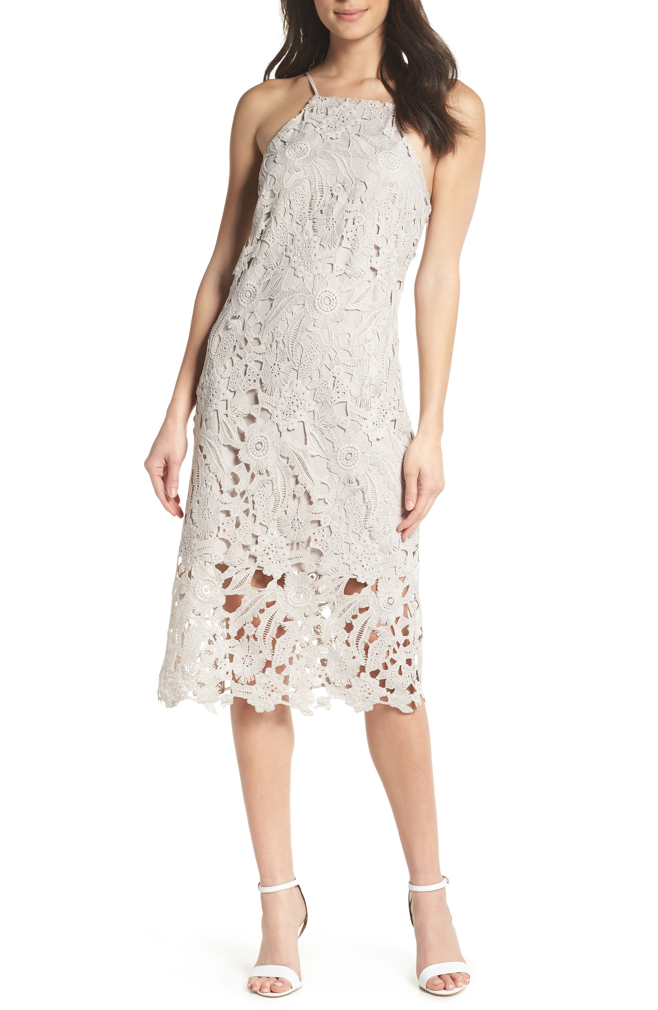 Sam Edelman Halter Top Lace Dress, Beige