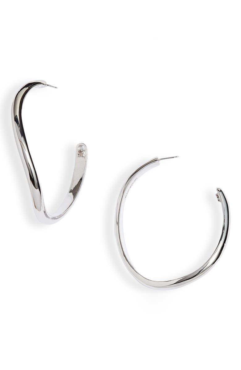 DEMARSON Calypso Curved Hoop Earrings, Main, color, SILVER PLATED METAL/SWAR CRYS