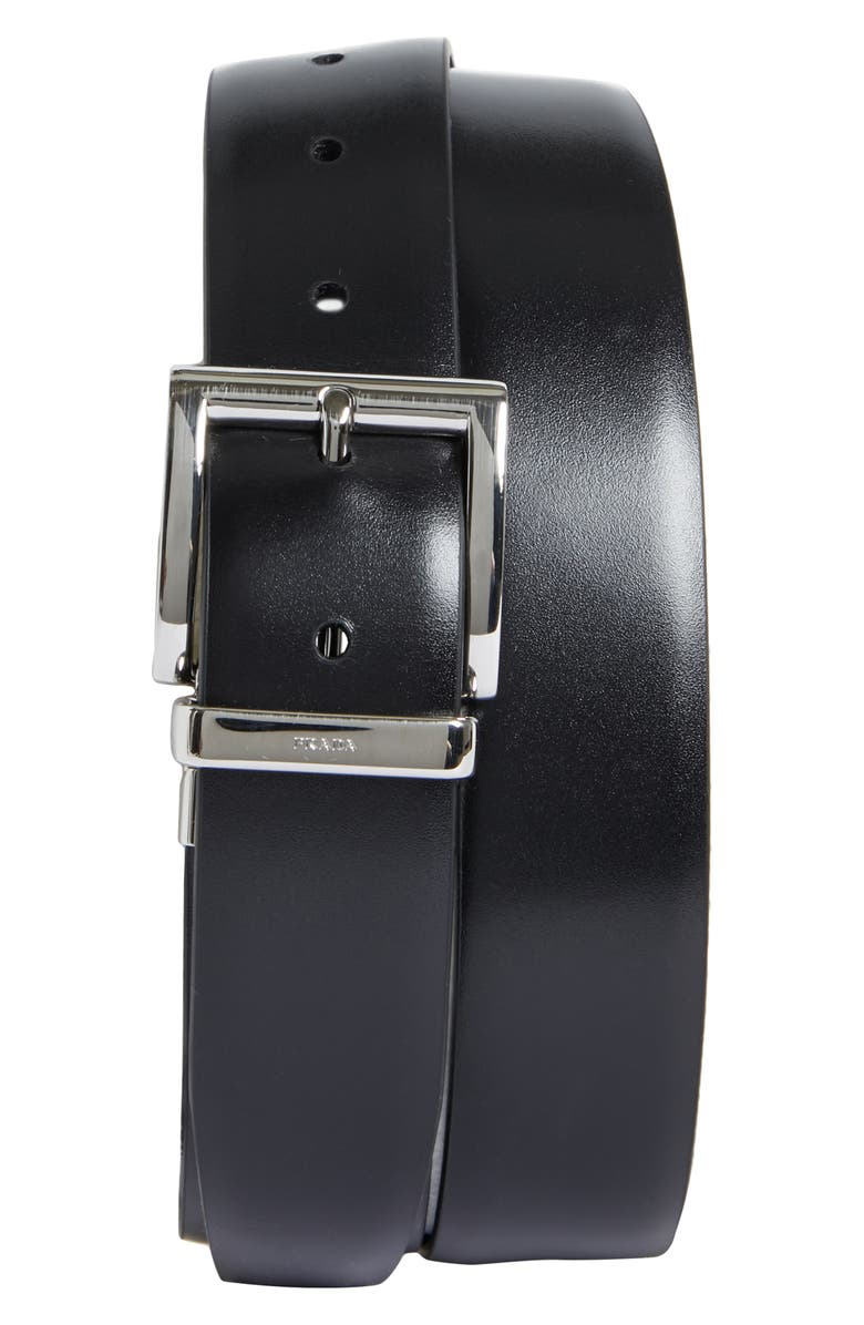 PRADA Reversible Leather Belt, Main, color, NERO