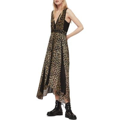 Allsaints Macella Leppo Leopard Print Dress, Brown