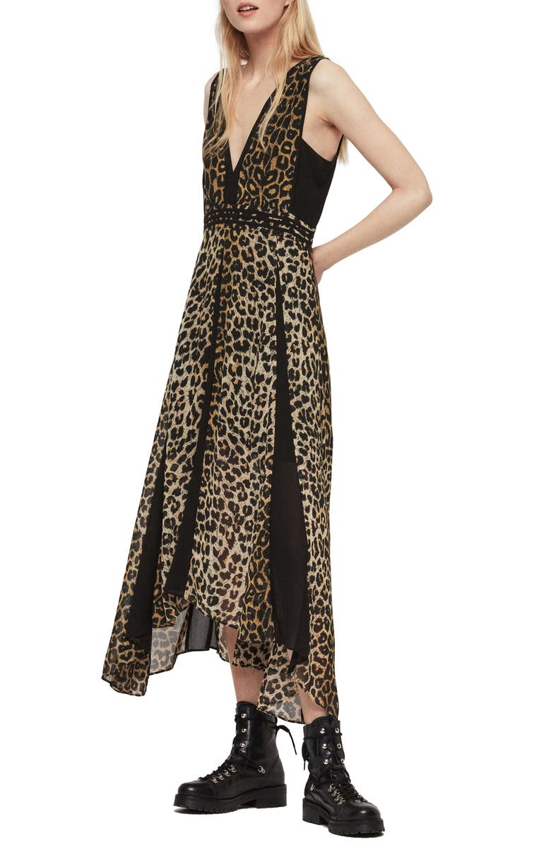 ALLSAINTS Macella Leppo Leopard Print Dress, Main, color, 201