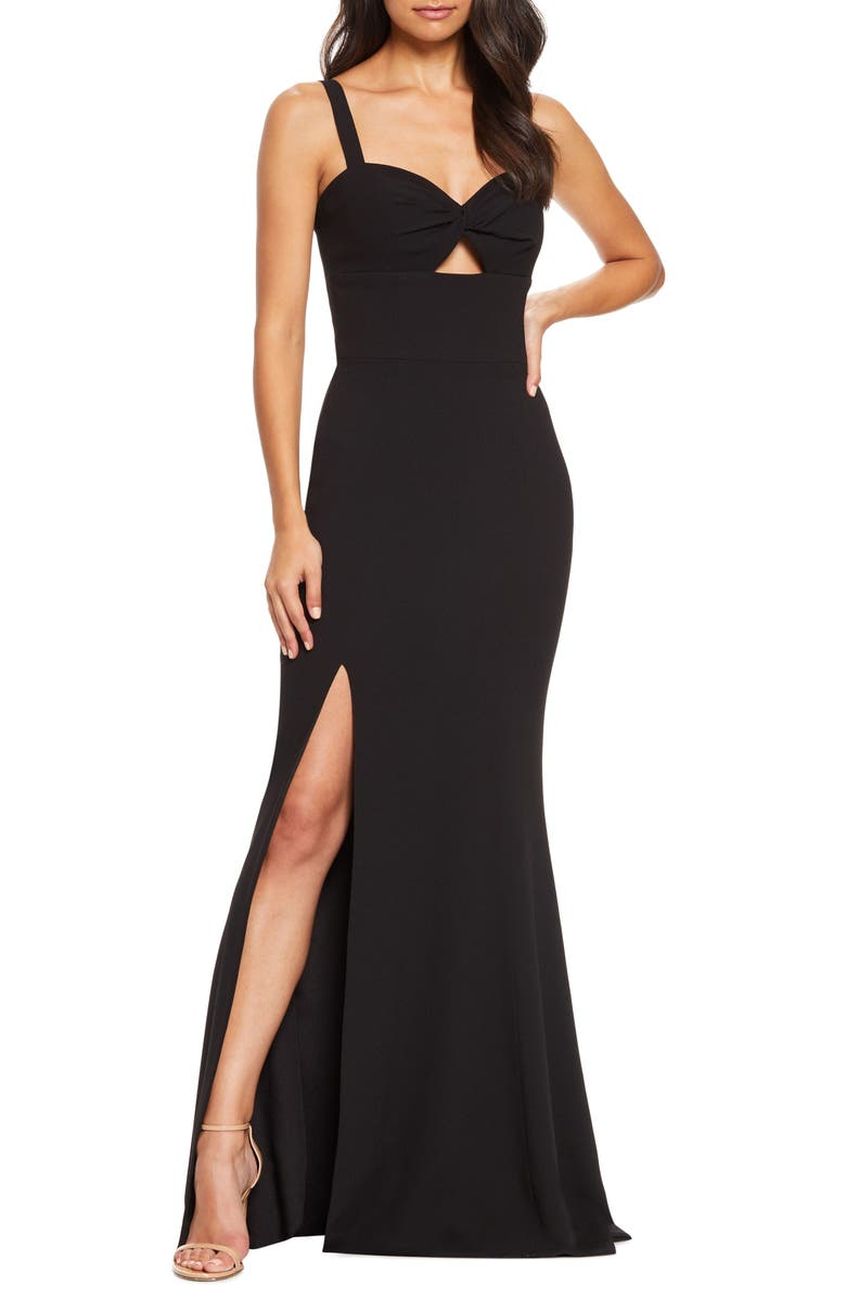 DRESS THE POPULATION Brooke Twist Front Gown, Main, color, BLACK
