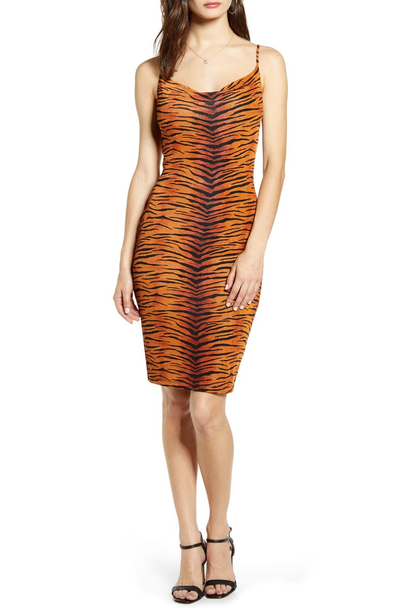 MADISON & BERKELEY Tiger Print Cowl Body-Con Dress, Main, color, BRICK TIGER