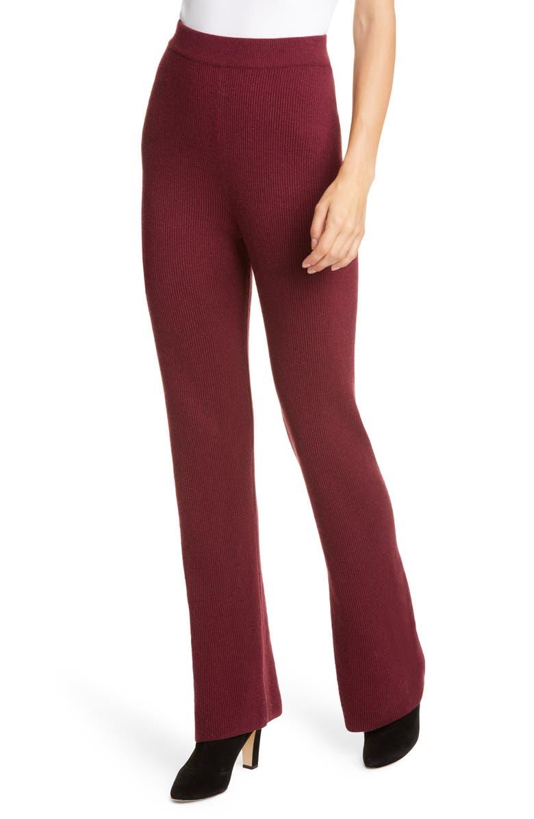 NANUSHKA Leba Merino Wool & Cashmere Blend Pants, Main, color, BERRY
