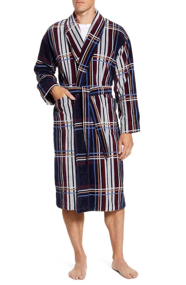 MAJESTIC INTERNATIONAL Firelight TV Cotton Velour Robe, Main, color, NAVY