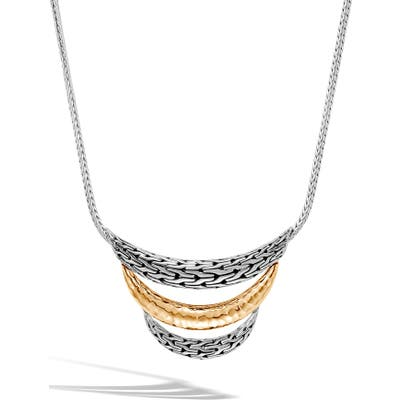 John Hardy Classic Chain Sterling Silver & 18K Gold Bib Necklace