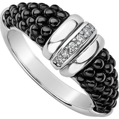 Lagos Black Caviar Diamond Tapered Ring