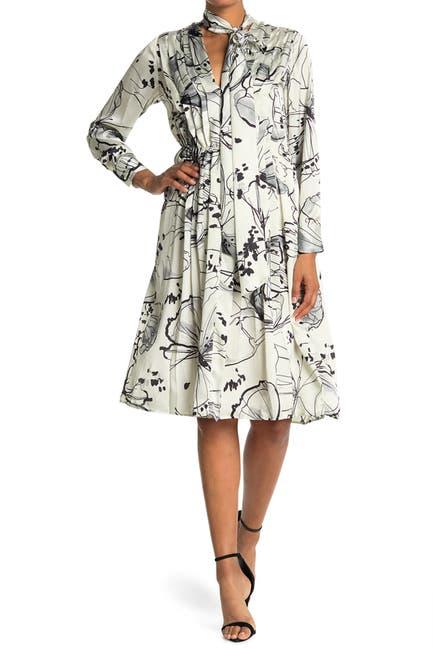Image of SEVENTY VENEZIA Abstract Floral Print Tie Neck Dress