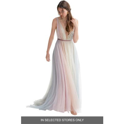Willowby Hutton Rainbow Tulle A-Line Wedding Dress, Size IN STORE ONLY - Pink