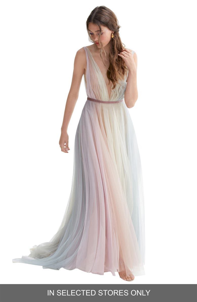WILLOWBY Hutton Rainbow Tulle A-Line Wedding Dress, Main, color, HORIZON/ ROSEWOOD