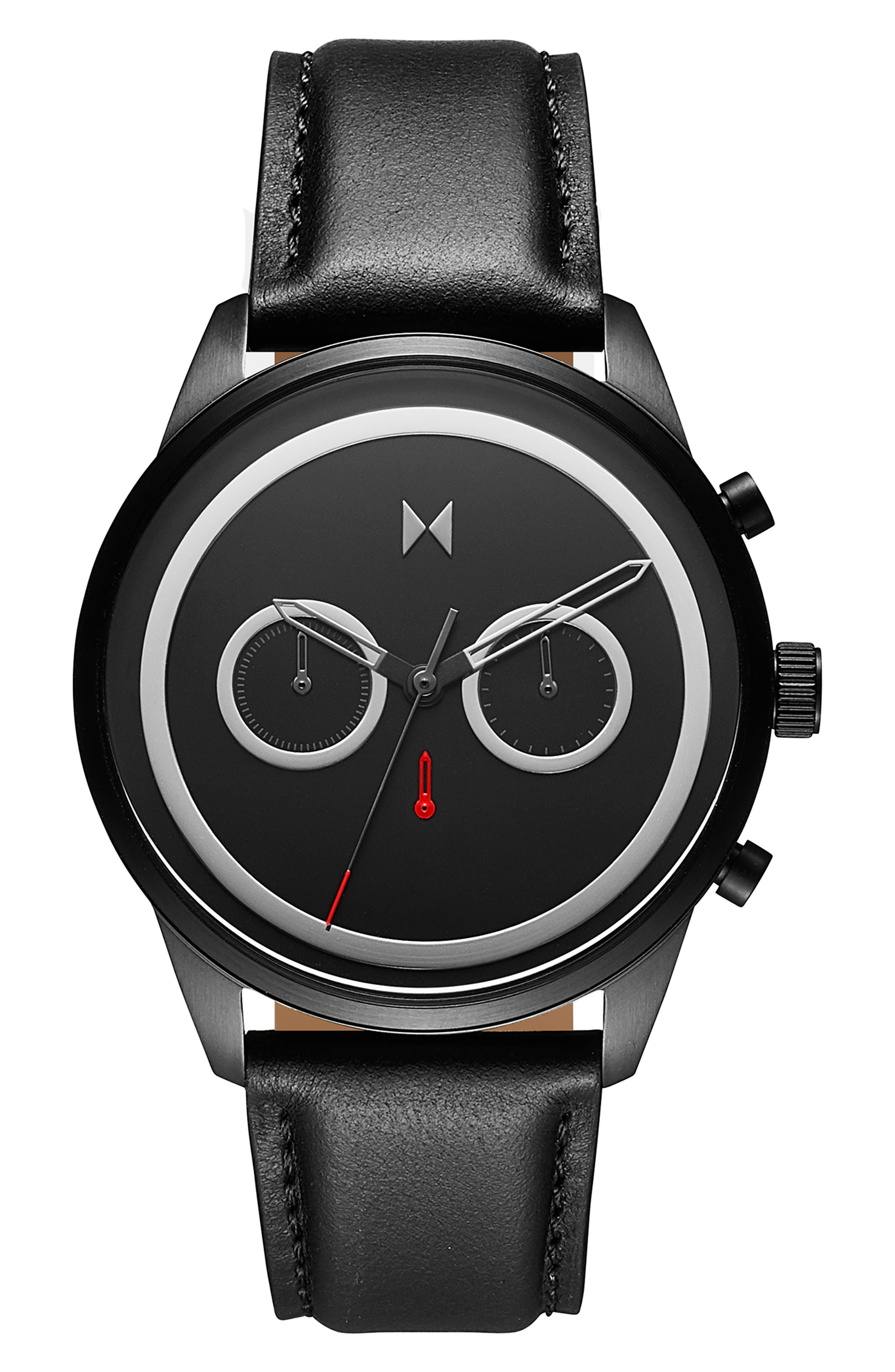 Sportluxe Chronograph Leather Strap Watch