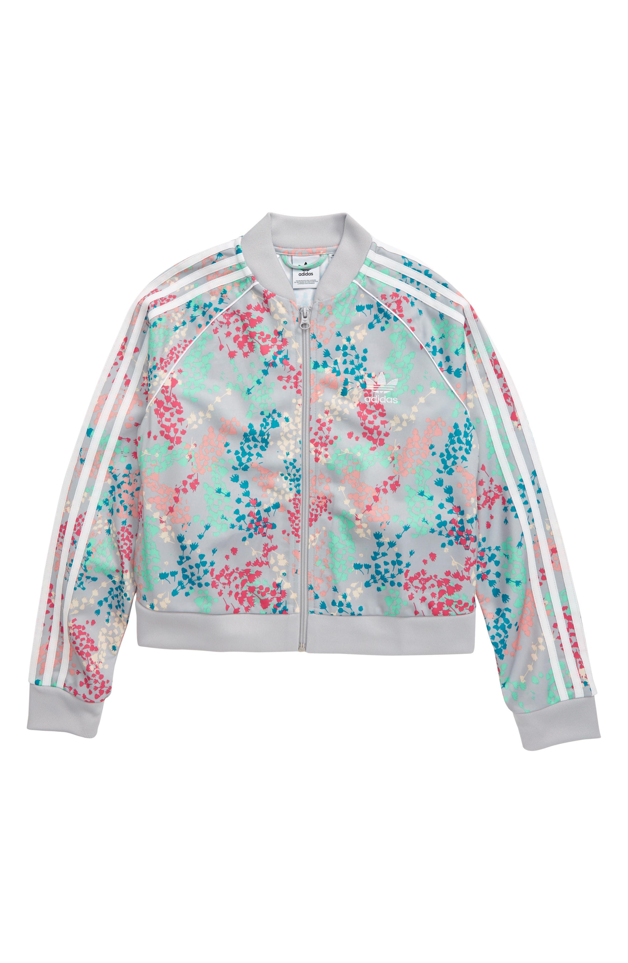 Girls Adidas Originals Sst Floral Print Crop Track Jacket Size M (1012)  Grey