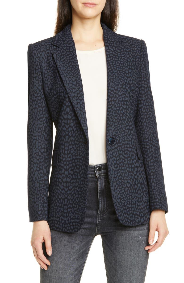 HELENE BERMAN One-Button Blazer, Main, color, GREY/NAVY