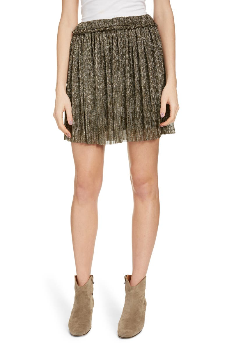 ISABEL MARANT ÉTOILE Benedicte Pleated Lamé Miniskirt, Main, color, DORE