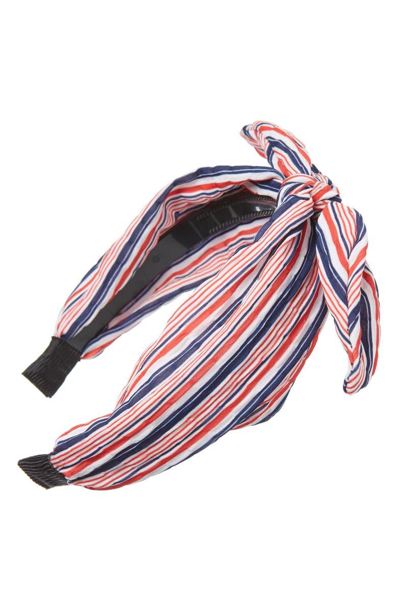 CARA Stripe Bow Headband, Main, color, 600