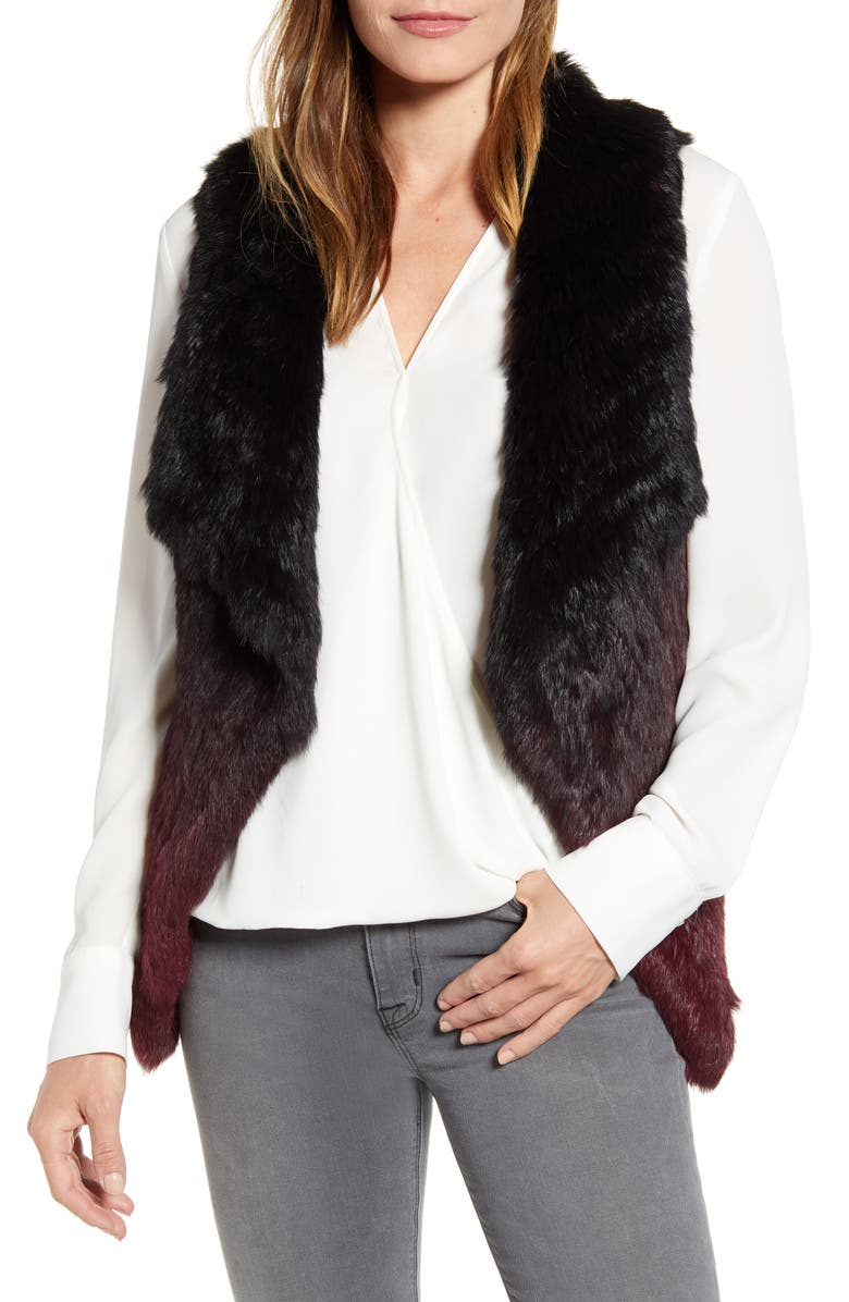 LA FIORENTINA Ombré Genuine Rabbit Fur Vest, Main, color, BLACK/ DEEP RED
