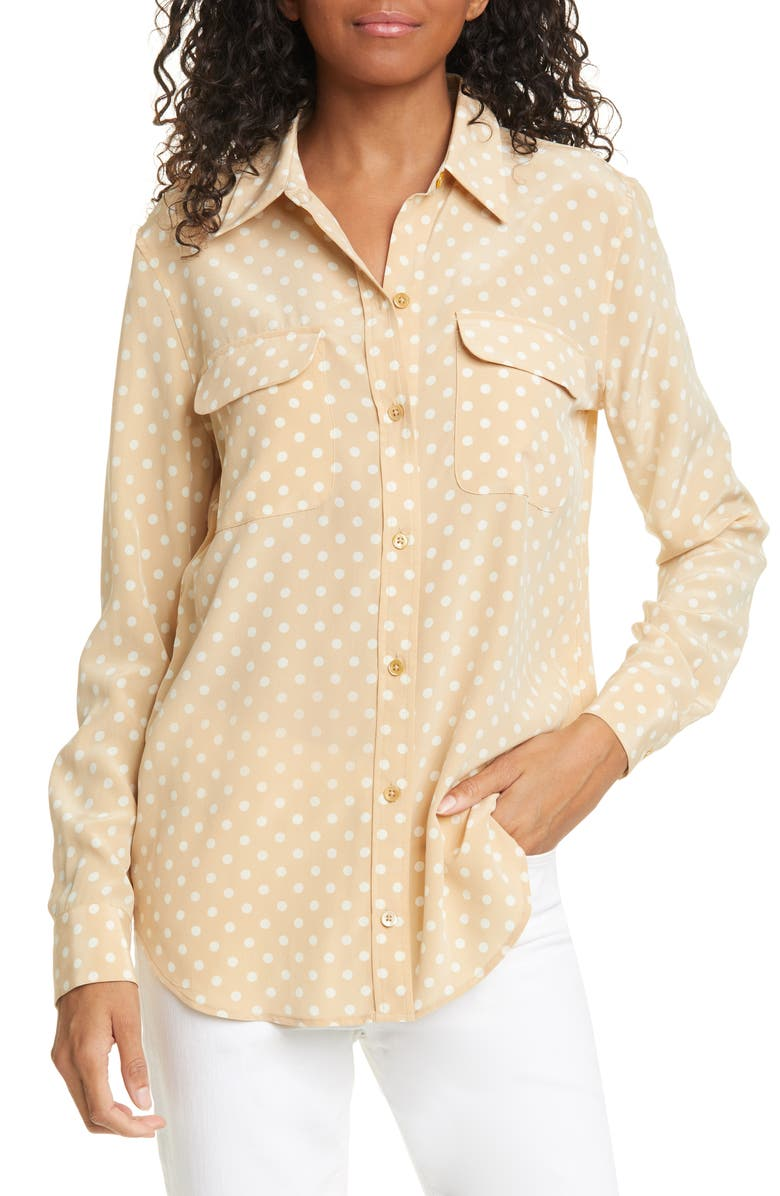 EQUIPMENT Slim Signature Polka Dot Silk Shirt, Main, color, 250