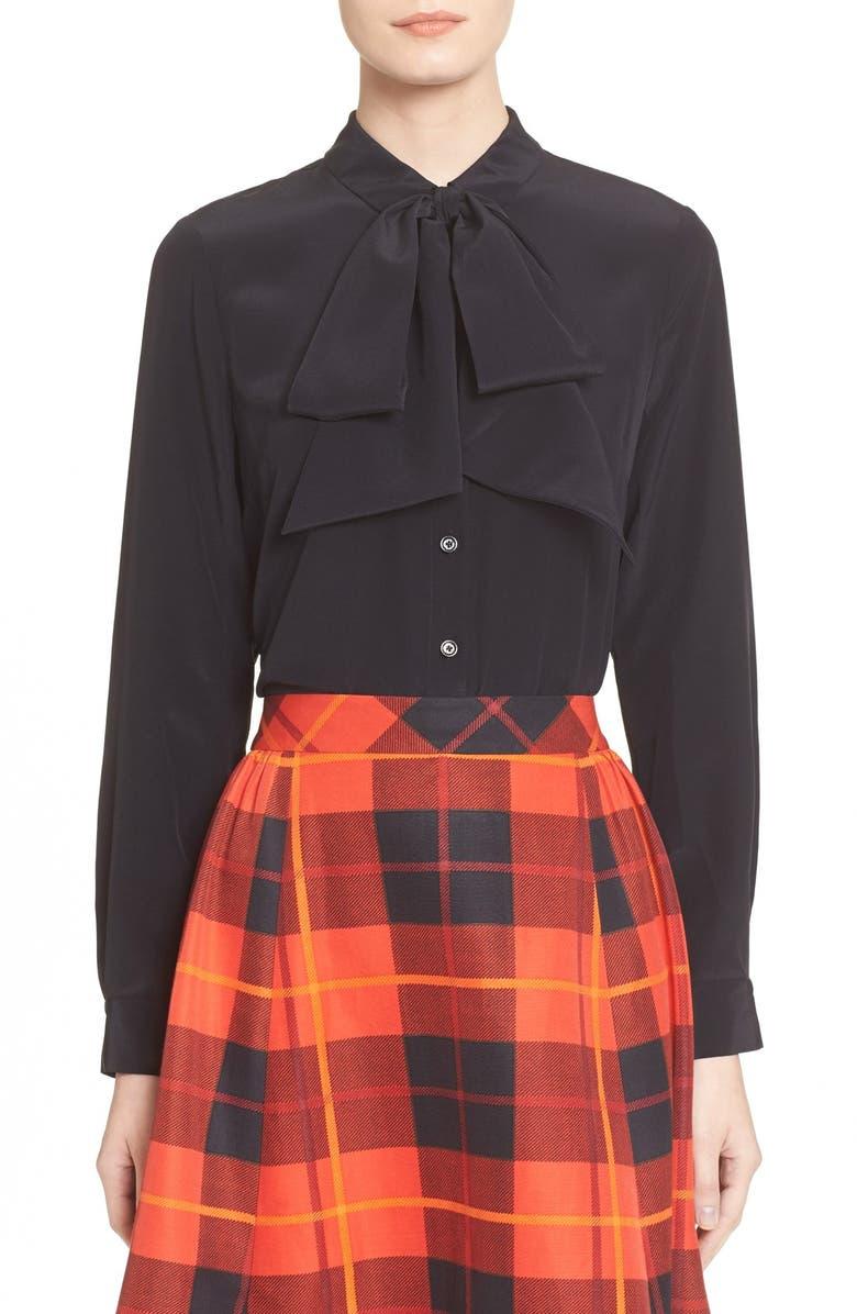 KATE SPADE NEW YORK bow detail silk blouse, Main, color, 001