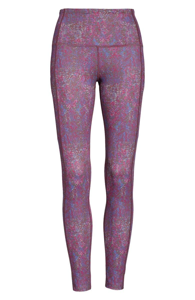 ZELLA Live In High Waist Pocket Ankle Performance Leggings, Main, color, BURGUNDY BEET SPOTTED- SNAKE