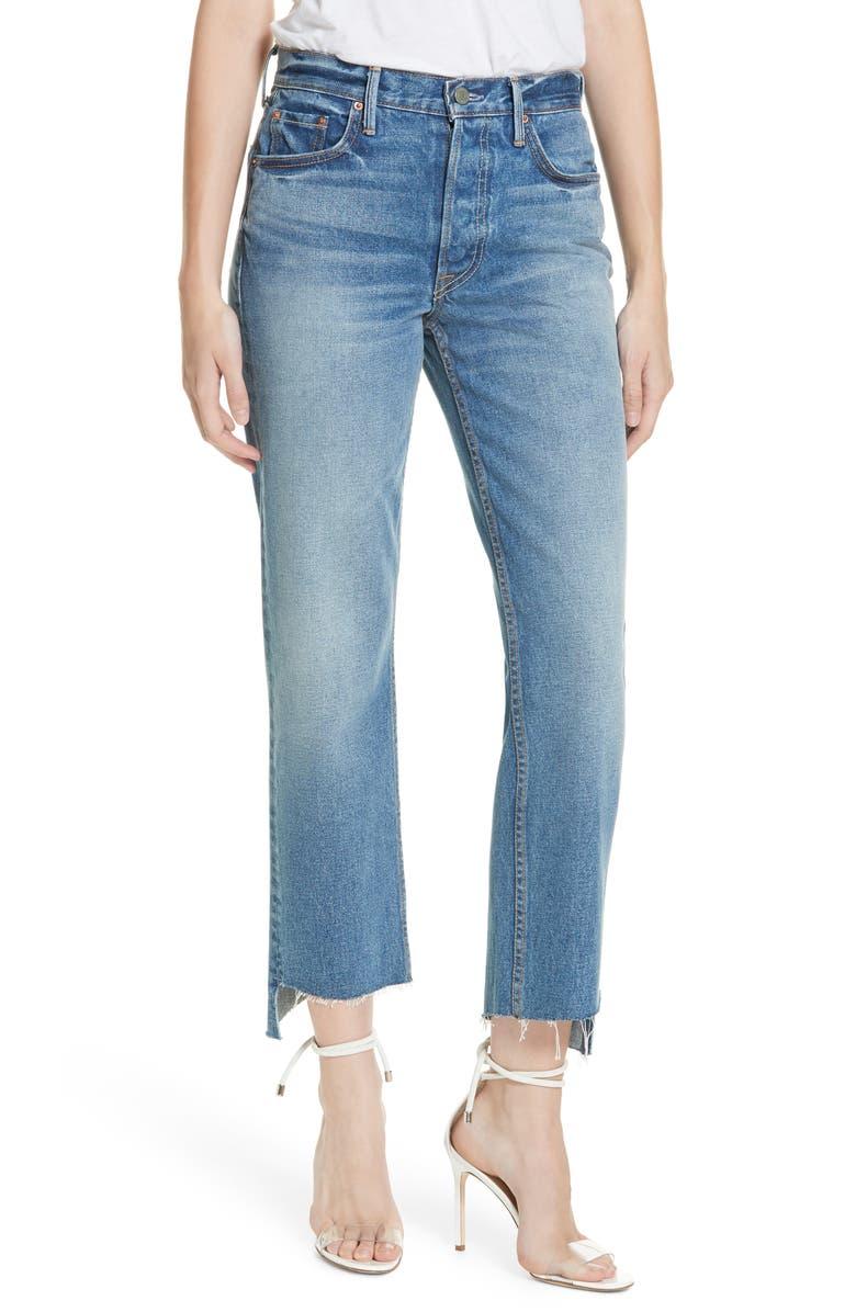 GRLFRND Helena Step Hem Straight Jeans, Main, color, TURN BLUE
