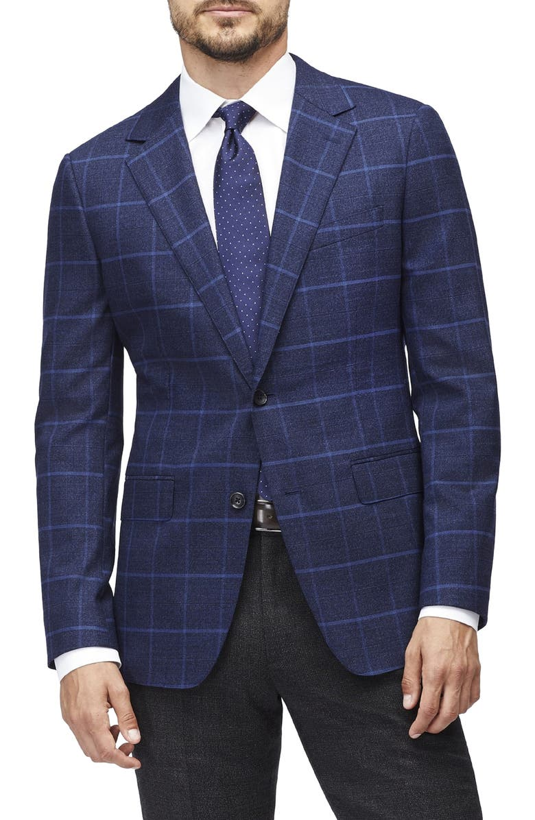 BONOBOS Jetsetter Slim Fit Plaid Stretch Wool Sport Coat, Main, color, BRIGHT BLUE WINDOWPANE