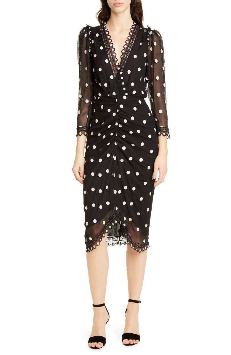 REBECCA TAYLOR Dot Embroidered Silk Dress, Main, color, BLACK