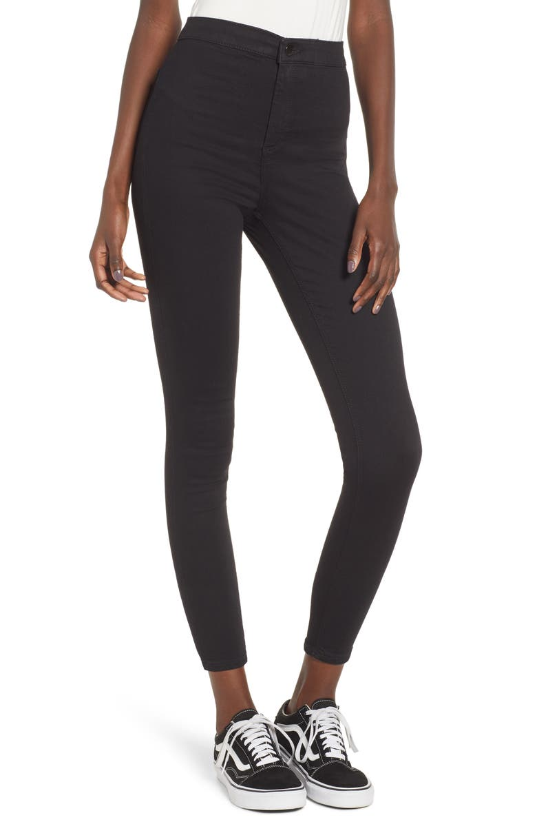 TOPSHOP Joni High Waist Skinny Jeans, Main, color, BLACK