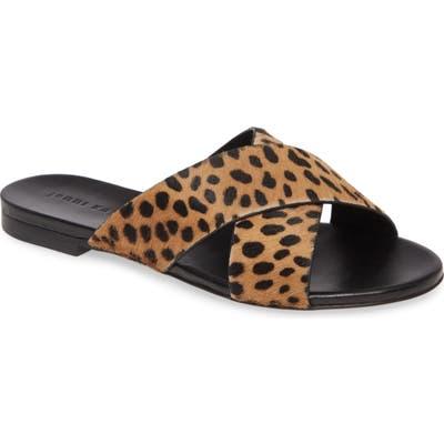 Jenni Kayne Genuine Calf Hair Cross Strap Slide Sandal, Brown